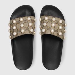 Pantofole bassi prezzi online-Pantofole moda 2018, designer di lusso in stile box femminile, pantofole da donna Pearl Beach al prezzo più basso, la migliore qualità 35-46