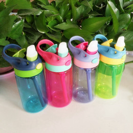 bounce cup Promo Codes - Fashion Bounce Water Bottle 4 Colors Hand Held Plastic Portable Kid Drinking Cup With Straw Newborn Baby Tumblers 480ml ZZA953