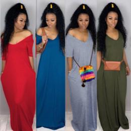 Double poches latérales Casual Maxi Dress Automne Col en V Manches Courtes Longueur Etage Robe Femmes Solide Lâche Casual Vestidos ? partir de fabricateur