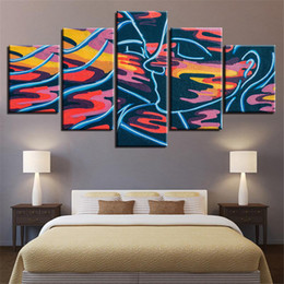 couple cartoon painting Promo Codes - 5 Panels Graffiti Painting Couple Love Kissing Artwork Frame HD Prints on Canvas Wall Art Painting Oil Painting Wall Decor with for Room