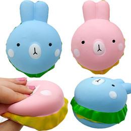 Argentina Squishy rabbit hamburger Soft PU Juguete de descompresión simulado de conejo de hamburguesa para niños juguete para correas de teléfonos móviles DHL gratuito cheap children s cell phone Suministro