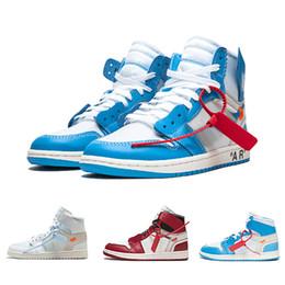2019 Zapatillas de baloncesto para hombre de Chicago OG 1s firmadas conjuntamente Zapatillas UNC 1 Poder Azul Blanco Azul Rojo Zapatillas de deporte para mujer con caja de North Carolina desde fabricantes