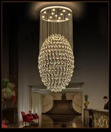 lâmpada de bolha vintage Desconto Modern Limpar K9 lustre de cristal Iluminação Escada pingente luz para a iluminação de aço Hotel Villa Duplex Villa escada inoxidável