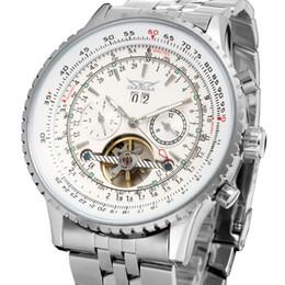 Relógios de aço inoxidável jaragar on-line-JARAGAR Grande Mostrador dos homens Relógios Mecânicos Automáticos de Aço Inoxidável Prata Branco Engrenagem de Design de Moda de Luxo Relogio masculino