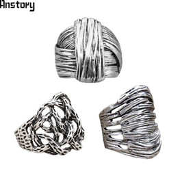 gold silver mix design ring Promo Codes - silver plated 3pcs Design Mixed Plant Root Design Rings Wholesale Lot Antique Silver Plated Fashion Jewelry