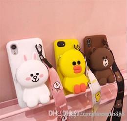 caja del teléfono oso lindo Rebajas Funda de teléfono Cute Cartoon 3D Bear Cony Sally Wallet para iPhone 6 6s Plus 7 8 Plus X XR XS Max Funda de silicona suave Coque Funda