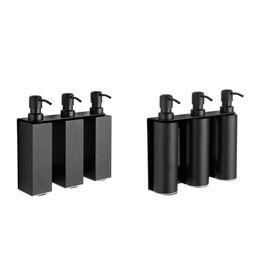 Совершенно новые аксессуары для ванной комнаты для хранения жидкого мыла три бутылки держатель из нержавеющей стали ванна душ для мытья рук настенное крепление черный от Поставщики дозаторы мыла настенные