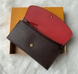 american leather wallet Promo Codes - Wholesale 9 colors fashion single zipper pocke designer men women leather wallet lady ladies long purse with orange box card 60136 LB81