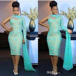 Hohes nacken-abendkleid online-Neue Schulter Nigeria Stil Abendkleider High Neck Lace Tee Länge Meerjungfrau Formelle Ballkleider Aso Ebi Style Party Kleid