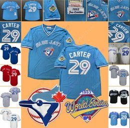 2019 Joe Carter 29 Jersey World Series Toronto Baseball Blue Jays Casa Fora Branco Azul Cinza Vermelho 1993 WS Preto All Costurado de