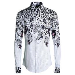 bdf6771838bdc2 polka dot männlich hemden Rabatt Polka Dot Leopard Head Print Shirt Männer  2019 Umlegekragen Volle Hülse