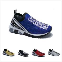 Новые Классические DOLCE GABBANA мужчины или женщины Конструкторы смешанных цветов йота Блестки блестит случайный человек Runner тренеров обувь Sneaker Flat от