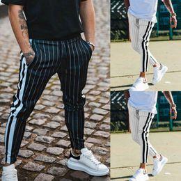 Pantaloni lunghi sudore pantaloni online-Moda 2019 Uomo Casual lunga striscia pantaloni slim fit tuta palestra di sport Magro banda Jogging Pantaloni felpa dei pantaloni