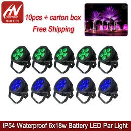 2019 mini led par puede 10 unids Mini uplights inalámbrico dmx 6 * 18W RGBWAUV 6in1 Led Par Light Batería impermeable para escenario Luz DJ par puede rebajas mini led par puede