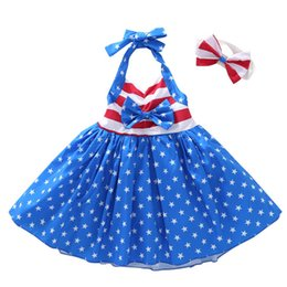 2019 fascia di giorno dell'indipendenza Summer Girls Star Abito a righe Bambini American flag Independence Day Sling Backless Princess Dress Bambini Fascia Abbigliamento C32 fascia di giorno dell'indipendenza economici