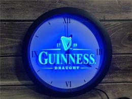 Guinness néon barra de luz on-line-Logos Beer 0E002 Guinness Vintage Bar APP RGB Sinais 5050 LED Neon Light Relógio de parede