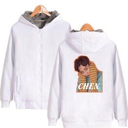 2019 yeni EXO Hoodies Fermuar Hırka Kalın erkek tasarımcı hoodies Ceketler Rahat Moda Kpop Baskı Rahat Unisex Kazak Kazak supplier exo printing nereden ekso baskı tedarikçiler