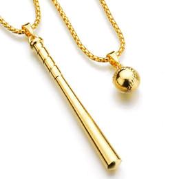 Бейсбольные горки онлайн-Мода хип-хоп ожерелье ювелирные изделия мужские женщины слайды хип-хоп бейсбол кулон ожерелье золото серебро цвет длинное ожерелье цепь