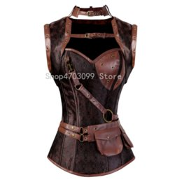 674debd1b7 Steampunk Corset Spiral Steel Boned Brown Leather Waist Gothic Bustier with  Jacket halter Lingerie hot Costumes