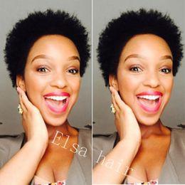 2019 stili di capelli ricci africani Parrucche di capelli umani ricci crespi naturali neri 1B # Afro per le donne nere Parrucche non brasate di brasiliano fatti capelli corti parrucca africana stile stili di capelli ricci africani economici