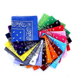 écharpes unies rouges Promotion 600pcs Top Qualité National 100% Coton Paisley Bandana Double Face Head Wrap Écharpe Bracelet Livraison Rapide