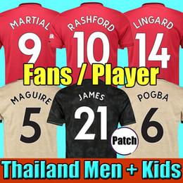 hombre fútbol unido Rebajas Tailandia 18 19 20 camisetas de fútbol manchester united MAN utd 2019 2020 marcial RASHFORD POGBA LINGARD kit de fútbol camiseta MARTIAL BISSAKA camiseta