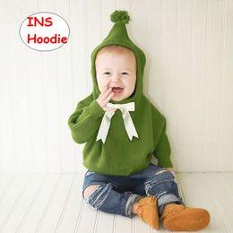 2019 jungen kleinkind hoodie Kleinkind gestrickter hoodie Infant Girl Boy Herbst Winter Tops Neugeborenen langarm Sweatshirts Einfarbig 3 farben rabatt jungen kleinkind hoodie