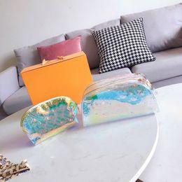2 Adet / takım 27 * 12 CM 2019 lüks tasarımcı en kaliteli şeffaf lazer yıkama çanta seyahat omuz orijinal çanta çanta debriyaj nereden