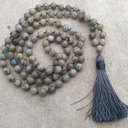 Labradorit perlenkette online-8mm Labradorit Stein grau Quaste Halskette traditionelle handgeknüpfte 108 Perle Meditation Mala Halskette Yoga Heilung Schmuck Männer
