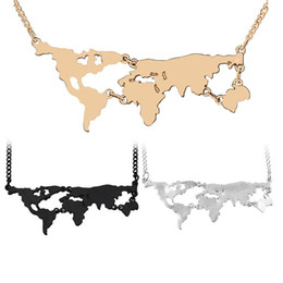 Gargantillas negras se levantaron online-Atlas mundial Mapa del mundo Collar Colgante de Plata Oro Rosa Negro Mapa Colgantes Gargantilla Joyería Moda Mujer Regalo de San Valentín Drop Ship 161362