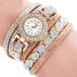 montre bracelet multicouche Promotion Bracelets 2018 Femmes Chaudes Multicouche Strass En Cuir Montre-bracelet À Quartz Montres pour Femmes Bracelets Bijoux Drop Shipping