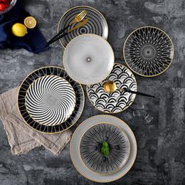 platos de horno de cerámica Rebajas vajilla Phnom Penh geometría vajilla de cerámica Cena plato de porcelana plato placa plato de postre de la torta vajilla 6pcs 8/10 pulgadas