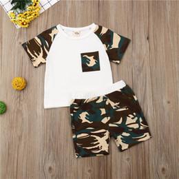2019 camuflagem calças para crianças Criança Crianças Meninos Meninas Meninos T-shirt Tops + Camouflage Shorts Pants Outfit Roupas desconto camuflagem calças para crianças