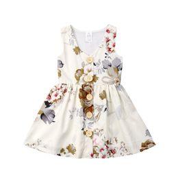 Tanque de princesa online-INS niñas Princesa vestido de verano sin mangas tanque vestidos floral niño falda botón decoración niños fiesta desgaste regalos de cumpleaños 80-120cm A3123
