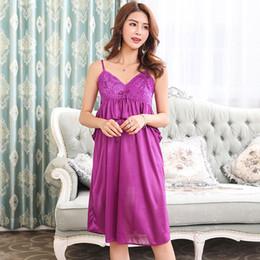 2019 lange mehrfarbige kleider Kleid Schultergurt Langer Rock Sexy Frauen Pyjama Satin Einfarbig Nachtwäsche Sommer Nachtwäsche Nachthemd günstig lange mehrfarbige kleider