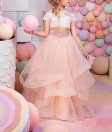 bellissimi abiti rosa per i bambini Sconti Abiti da cerimonia nuziale del fiore della ragazza del fiore dell'abito della sfera del merletto di due pezzi del vestito da cerimonia nuziale della ragazza di 2019 due bei vestiti da cerimonia nuziale della ragazza del fiore