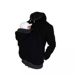 Baumwolle plus größe oberbekleidung online-Großhandel Papa Herbst Winter Kleidung Babytrage Känguru Baumwolle Oberbekleidung Hoodies Männer Mantel Hoodie Tragen Mantel Plus Größe Jacke
