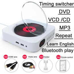 leitor de dvd hd Desconto Leitor de DVD de Parede Montável Portátil com Saída HDMI Full-HD para TV AV Branco Embutido Hifi de Áudio Em Casa Com Controle Remoto Bluetooth