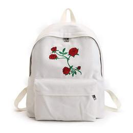 2020 vintage satchel rucksack Neue mode dame leinwand rucksack mädchen schultasche schultaschen rose stickmuster auf frauen reisetasche eine klassische reine co günstig vintage satchel rucksack