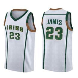 Wholesale High school LeBron Jersey Hombre Blanco Verde Amarillo Barato venta al por mayor Camisetas de baloncesto Bordado Logos Alta