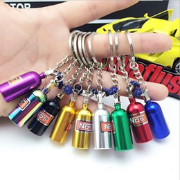 car nos Promo Codes - 7 color NOS Turbo Nitrogen Bottle Metal Key Chain Key Ring Holder Car Keychain Pendant Jewelry for Women Men Unique Mini Keyring