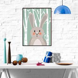 abstrakte sonnenaufgang gemälde Rabatt Farben Wohnzimmer Poster Party Decor Kein Rahmen Cartoon Tier Gemälde Kinderzimmer Niedlichen Bären Fuchs Kaninchen Waschbären Dekoration DH1376