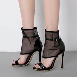 2019 botas abertas para o tornozelo New black meshy open toe bombas de salto alto tornozelo bootie mulheres designer de sapatos tamanho 35 a 40 botas abertas para o tornozelo barato