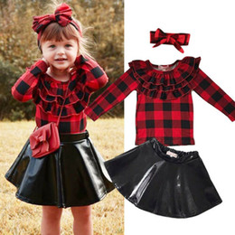 baby girl tutu skirt long sleeve Coupons - Baby girl Leather skirt dress with headband long sleeve plaid shirt Spring Autumn cute kids girls clothes dresses outfit 1-7years