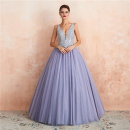 2019 sexy 15 vestidos Lavanda Vestidos de Baile 2020 Sexy Plung Decote Em V Low Cut Backless A Linha de Vestidos de Noite Com Apliques de Contas de Longo Doce 15 Quinceanera CPS1446 sexy 15 vestidos barato