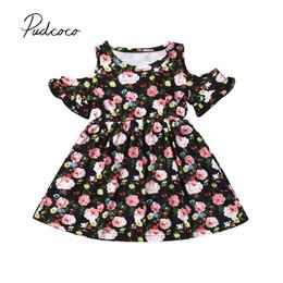 Девушки одеваются с плеча онлайн-2019 Children Summer Clothing 1-6Y Toddler Kids Baby Girls Floral Dress Off Shoulder Ruffles Princess Party Holiday Dresses