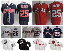 Indiano de beisebol on-line-Índios Vintage # 25 Jim Thome Jersey 2018 Hall da Fama White Sox Jim Thome Baseball Jerseys Cleveland Phillies Chicago costurado shirt M-XXXL