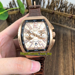 v watches Promo Codes - NEW SARATOGE V 45 SC DT COBRA Snake pattern Dial Japan VK Quartz Chronograph Movement Mens Watch Rose Gold Case Leather Strap Watches