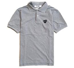 polo verde morado Rebajas Camisa polo de diseño Moda masculina informal en forma de corazón camisa con estampado de marca solapa de algodón gris Polo camisas joker Comodidad manga corta de alta calidad