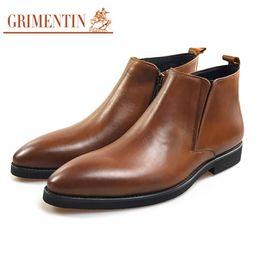 stivali GRIMENTIN uomini della caviglia di alta qualità 2020 mens brown zip genuino stivali di pelle caldo di vendita scarpe maschili di moda italiana